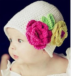 Wholesale Cute Baby Cotton Hat for Children Baby Knitted Winter Warm crochet baby Cap Flowers new