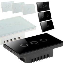 EU Stock! Tela de Cristal Painel Smart Touch Wall Light interruptor 1/2/3 Gang com indicador LED Padrão dos EUA