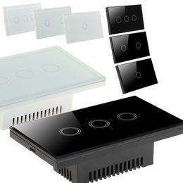 США Stock! Хрусталь панель Smart Touch настенный экран Выключатель света 1/2/3 Gang со светодиодным индикатором стандарта США
