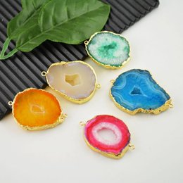Wholesale Findings Druzy connector Geode Drusy k Gold plated Edge agate in colorful color