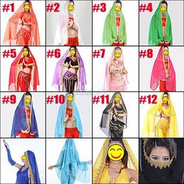 Wholesale fashion belly dance costume chiffon big veil head shawl scarf gypsy tribal gold trim new design hot sale accessories EQ7512