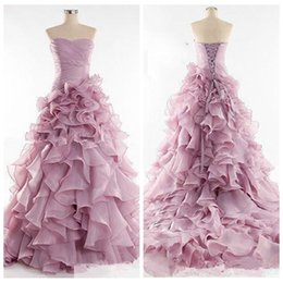 Wholesale 2016 New Coming Quinceanera Dresses Strapless Dusty Rose Organza Cascading Ruffles Lace Up Back Custom Special Quinceanera Dress