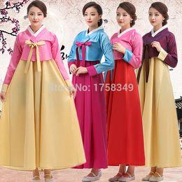 Wholesale 2015 New Traditional Korean Hanbok Clothing Palace Traditional Korean Women Clothing Dae Jang Geum Ethnic Dance Costume Dress
