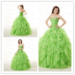 Wholesale 48 hour shipping In Stock Dresses Sweetheart Lace up Prom Dresses with Cascading Ruffles Ball Gown quinceanera dresse evening size