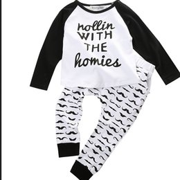 Wholesale 2015 New Baby Infant Kid Boys Bodysuit Clothes Homie Print letter T shirt Moustache Pants Outfits Sets sets