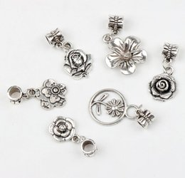 Wholesale 19Styles Tibetan Silver Flowers Dangle Big Hole Beads Fit European Pandora Charm Bracelet Jewelry DIY