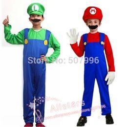 Wholesale Hot Sale Kids Super Mario Bros Cosplay Costume Set Children Halloween Party MARIO LUIGI Costume For Kids gifts