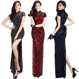 Wholesale Placketing Qipao Long Lace Cutout Chinese Style Formal Dress Sexy Cheongsam Dress