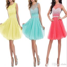 Wholesale Cheap Summer Short Homecoming Dresses Beaded Sheer Crew Neck Capped Sleeves Short Party Dress Backless Cocktail Prom Dresses CPS170