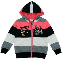 Wholesale Kids Clothes Winter Sweatshirts Baby Boys Hoodies Boy Jacket Sports Cool Coat Stripes Cute Popeye Printing Fleece Hooded