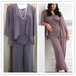 Wholesale 100 Real Sample New Fashion Three Pieces Lace Chiffon Mother s Pants Suit Purple Long Mother of the bride Dress Wedding Party Gown