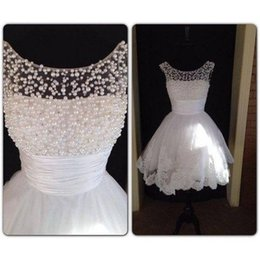 Wholesale 2015 Hot Sale Sheer Short White Pearl Bead Lace Prom Dresses Straps Knee length Graduation Dress Formal Gowns Party Dress Homecoming Gown