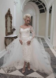 Wholesale A full lace short pencil wedding dress with illusion back and shoulder detail and detachable train wedding dress bridal dress