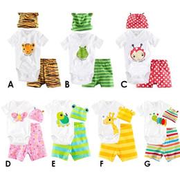 Wholesale 3 pièce convient short Hat Romper tortue girafe chenille papillon barboteuses mettre bébé justaucorps définit triangle barboteuse Baby Expédition gratuite