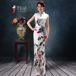 Wholesale Simple Bridesmaid New Classical Silk High Neck Dresses Cheongsam Women Chinese Wedding Dresses Traditional Clothing Blend Qipao Dresses