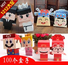 Wholesale Wedding Favor Box Wholesale100pcs White And Black Cartoon Groom Bride Candy favor Boxes Toll Wedding Gift Packaging Box SD18