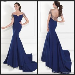 Wholesale Tarik Ediz Evening Prom Dresses Memraid Royal Blue Backless With Beading Crystals Long Special Occasion Dress Formal Celebrity Party Dress