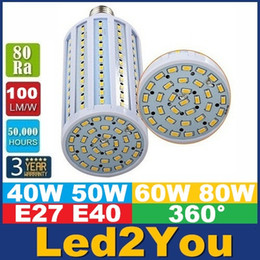 E40 B22 E27 мозоли СИД Свет SMD 5730 наивысшей мощности 40W 50W 60W 80W светодиодные лампы 360 Угол AC 85-265 CE ул