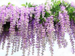 Al por mayor de la boda de la decoración de Wisteria 110cm 75cm 4 colores artificiales decorativas guirnaldas de las flores para la nave del banquete de boda Inicio de DHL