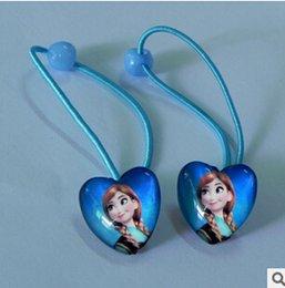 Wholesale Christmas snow Romance Glass Heart Children s hair accessories hair rope headdress