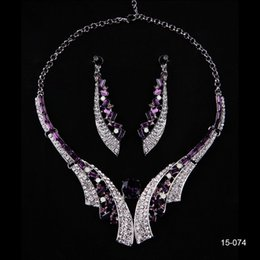 Wholesale Purple Rhinestones Wedding Jewelry Prom Party Evening Accessories Bride Bridesmaid Necklace Earring Set Unique Bridal Jewelry Sets C