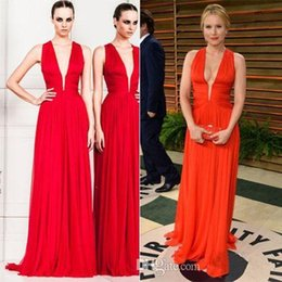 Wholesale Formal Zuhair Murad Backless Evening Gowns Celebrity Red Carpet Dress Deep V Neck Ruffles Sweep Train A Line Chiffon Party Dresses
