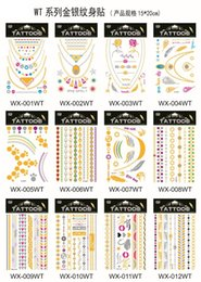 Wholesale 20pcs Fashion Tattoo Witha Exquisite Packaging set New Multi colorr Metalic Temporary Tattoos Jewelry Stickers