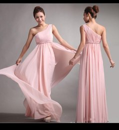 Wholesale 2015 Pink Bridesmaid Dresses Sweet princess Greek Style Goddess One shoulder Bare Wedding Party Dress pleats Discount Prom Dresses Gown MQ