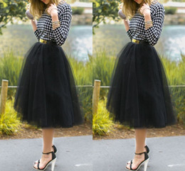 Wholesale 2015 New Arrival Tea Length Cheap Black Tulle Skirts Princess Layered Voile Tulle Skirt Bouffant Puffy Skirt Ruched Long Skirts
