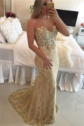 Wholesale Champagne Mermaid Long Lace Prom Dress For Teens Sexy Pearls Formal Evening Gowns Custom made vestidos de fiesta baratos