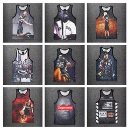 Wholesale New men s summer tank tops D print rose floral Chicago basketball star pac vest fit slim jersey sleeveless tee shirts