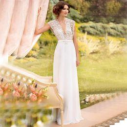 Wholesale Sexy Boho Lace Wedding Dresses Sexy Illusion V Neck Beaded Belt A Line Customized Bohemia Wedding Dresses Bridal Gowns