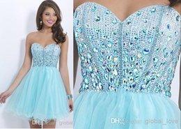 Wholesale 2015 Top completo rebordeado y cristales color claro señora cariño tamaño más vestidos de coctel vestidos de fiesta vestido de fiesta vestido de fiesta corto Tulle