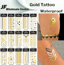 Wholesale 30 Kinds Design New Metallic Gold Body Art Temporary Tattoo Sexy Non Toxic Waterproof Flash Tattoos Sticker Bling Bling Flash Tats cm