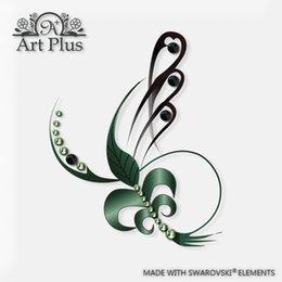 Wholesale Art Plus Swarovski Elements Crystal feather tattoo sticker waterproof tattoo stickers abstract creative woman