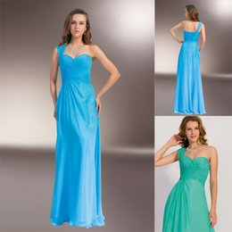 Wholesale One Shoulder Aqua Peacock green Chiffon Prom Dresses Sweetheart Sleeveless Made to Order Simple Formal Gowns Dresses