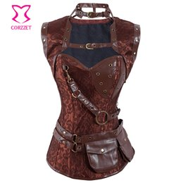 Wholesale New Brown Steampunk Steel Boned Bustier Corsets With Jacket and Belt Fashion Women Burlesque Zipper Clothing Set Sexy Corselet