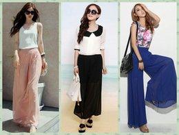 Wholesale Fashion Women Wide Leg Loose Pants Beach Trousers Long Casual Chiffon Spring Summer Boho Palazzo Pants Blue Pink Black