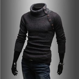 Wholesale Korea new autumn winter High collar design Solid color mans sweater fashion business casual sweaters men