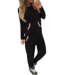 Wholesale Women s Tracksuit Sports Suit Autumn Winter Sweatshirt pant Chains Hoodies Casual Jogging For Women Piece Set Pullovers