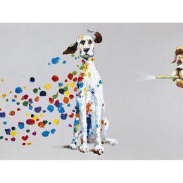 Мультфильм животных Собака с красочными пузыря Ручная роспись маслом на холсте Mural Art Картина для Home Жизнь Спальня Декор стены
