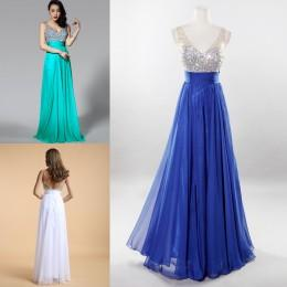 Wholesale 2016 Prom Dresses Cheap Evening Dresses Backless Sheer V Neck Sequined Bodice Long Bridesmaid Dresses Wedding Formal Gowns with Crystals