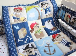 Wholesale Children s Nursery Bedding D Pirates of the Caribbean pattern embroidery baby bedding set include Quilt Bumper bed Skirt Mattress Cover