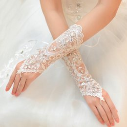 Wholesale Hot Sale Bridal Accessories White Ivory Fingerless Lace Crystals Bridal Wedding Gloves Cheapest Price High Quality Below Elbow Length Gloves