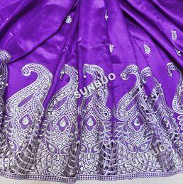 Ont des perles en argent violet 5yards George Tissu africain George Lace Fabric Nigéria Vêtements de mariage
