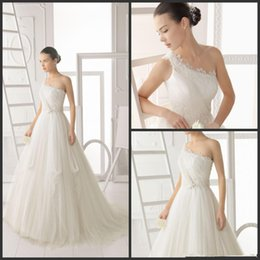 Wholesale New Style Natural Graceful Organza A Line Wedding Dresses One Shoulder Sweep Train Bridal Gowns Lace Flowers Appliques Dres