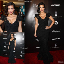 Wholesale 2016 Kim Kardashian Black Mermaid Beaded Lace Evening Dresses V Neck Capped Sleeves Arabic African Gowns Formal Red Carpet Celebrity Dresses
