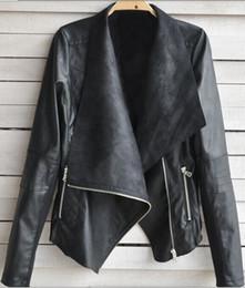Wholesale Womens coat ladies clothing PU Leather Zipper Rivets lapel Short Casual punk rock Asymmetrical Jacket Outerwear big size S XXL Coats