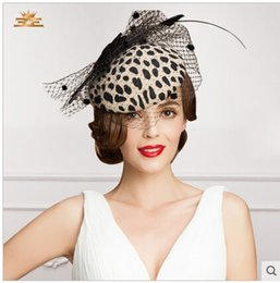 Wholesale 2015 Exquisite Wedding Hats Fascinators Wedding Hat Church Hats Fashion Bridal Hats With Veil Leopard Color