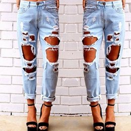Wholesale 2015 Female Fashion Ripped Holes Jeans Plus size Design Vintage Casual Hot Pants Clothing